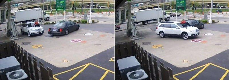Mulher sobe no capô do seu carro para impedir assaltante; assista